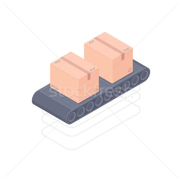 Automated conveyor belt isometric vector illustration Stock photo © RAStudio