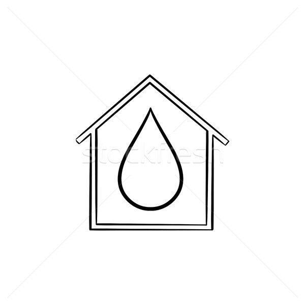 House with water drop hand drawn icon. Stock photo © RAStudio