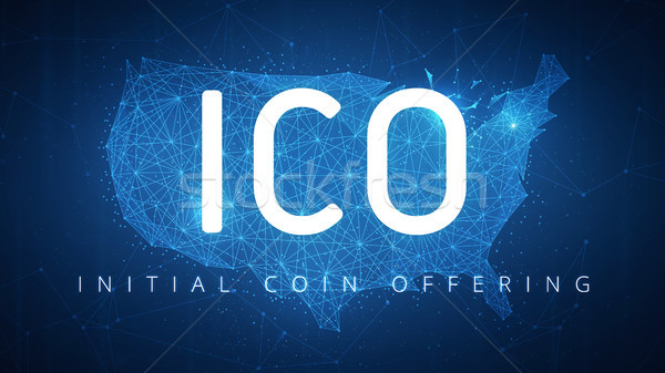 ICO initial coin offering banner with USA map. Stock photo © RAStudio
