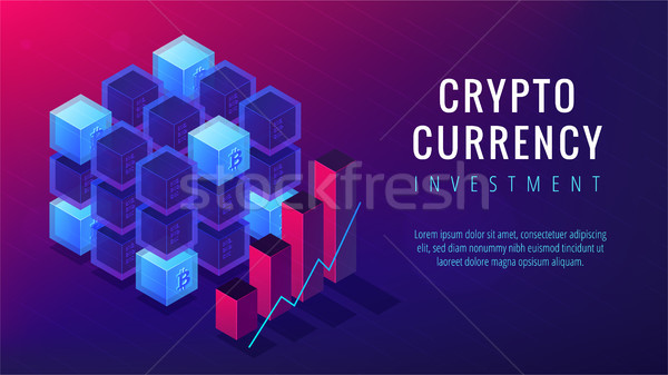 Isometric cryptocurrency investment landing page concept. Stock photo © RAStudio