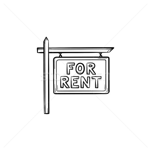 For rent sign hand drawn outline doodle icon. Stock photo © RAStudio