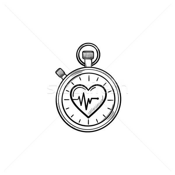Stopwatch with heart symbol hand drawn outline doodle icon. Stock photo © RAStudio