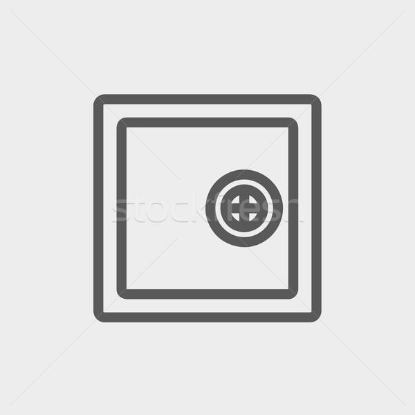 Széf agykoponya vékony vonal ikon háló Stock fotó © RAStudio