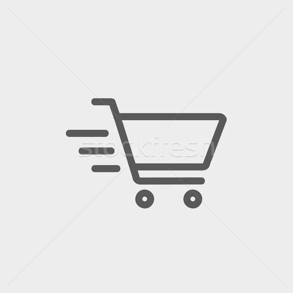 Fast delivery shopping cart thin line icon Stock photo © RAStudio