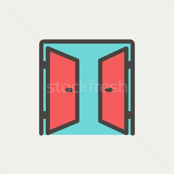 Two doors thin line icon Stock photo © RAStudio