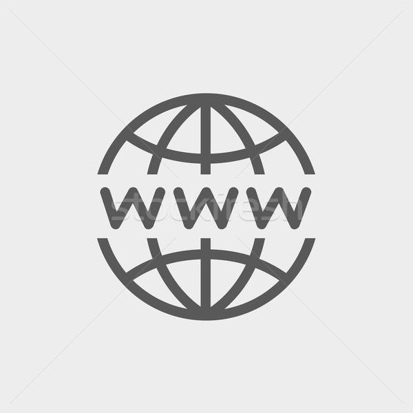 Mondo progettazione di siti web sottile line icona web Foto d'archivio © RAStudio