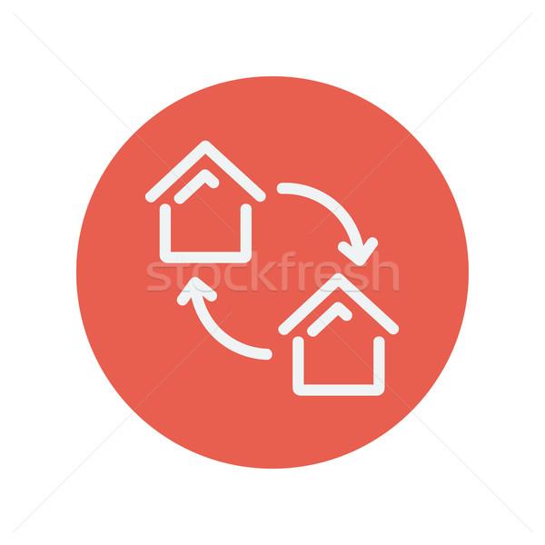 Two little houses thin line icon Stock photo © RAStudio
