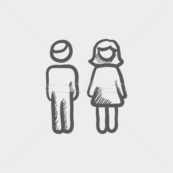 Male and female couple sketch icon Stock photo © RAStudio