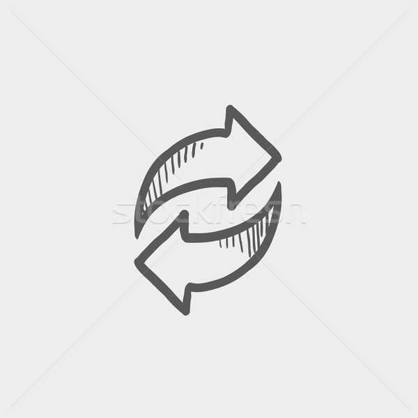 Arrows with left and right direction sketch icon Stock photo © RAStudio