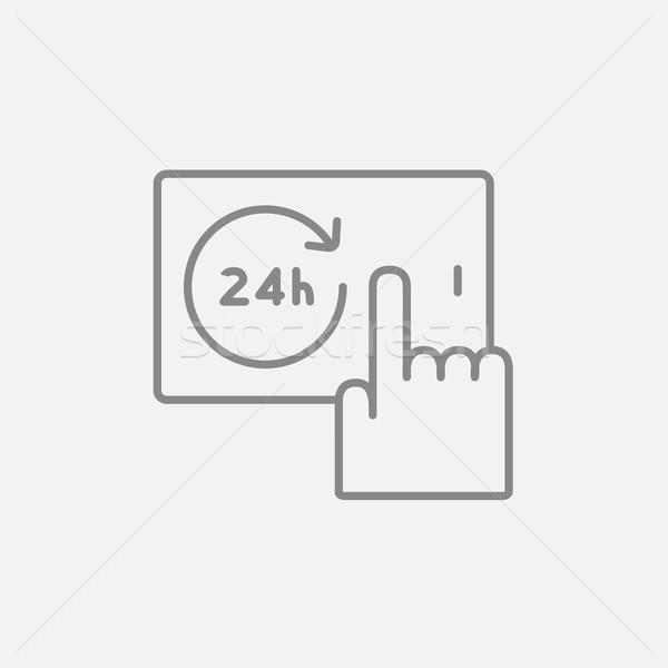 Etrafında saat hat ikon parmak dokunmak Stok fotoğraf © RAStudio
