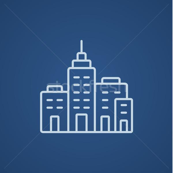 Residencial edificios línea icono web móviles Foto stock © RAStudio