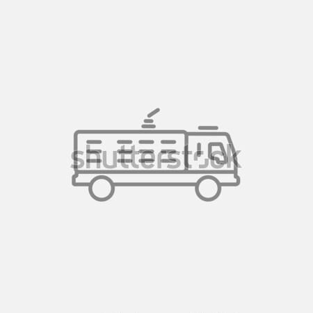Wóz strażacki line ikona internetowych komórkowych infografiki Zdjęcia stock © RAStudio