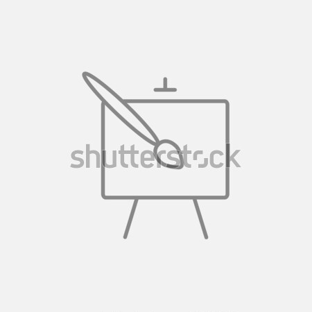 Stock photo: Easel and paint brush line icon.