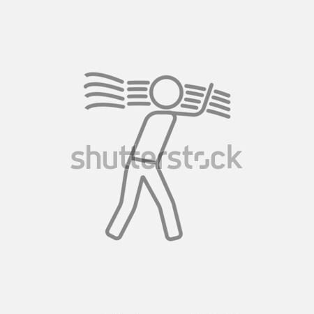Man carrying wheat line icon. Stock photo © RAStudio