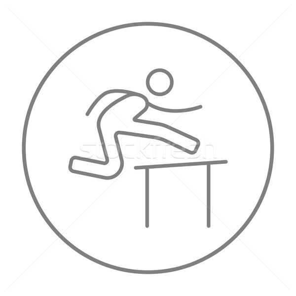 Man running over barrier line icon. Stock photo © RAStudio
