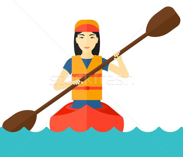 ストックフォト: 女性 · ライディング · カヌー · アジア · ベクトル · デザイン