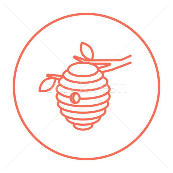 Pszczoła ul line ikona internetowych komórkowych Zdjęcia stock © RAStudio