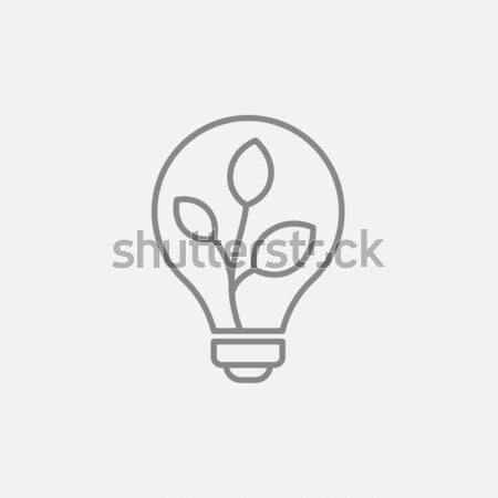 Stock photo: Lightbulb and plant inside line icon.