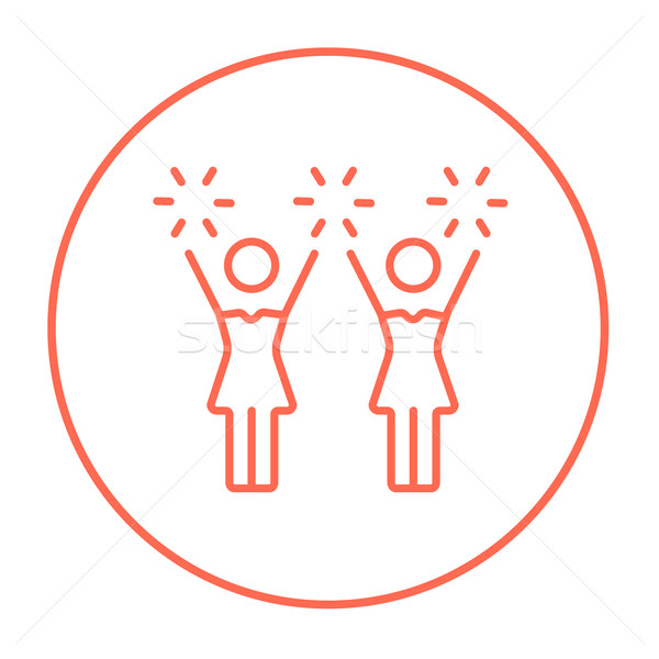 Cheerleaders line icon. Stock photo © RAStudio