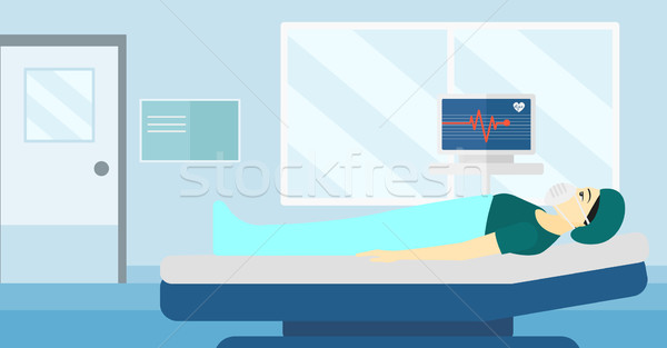 Hasta kalp izlemek Asya kadın Stok fotoğraf © RAStudio