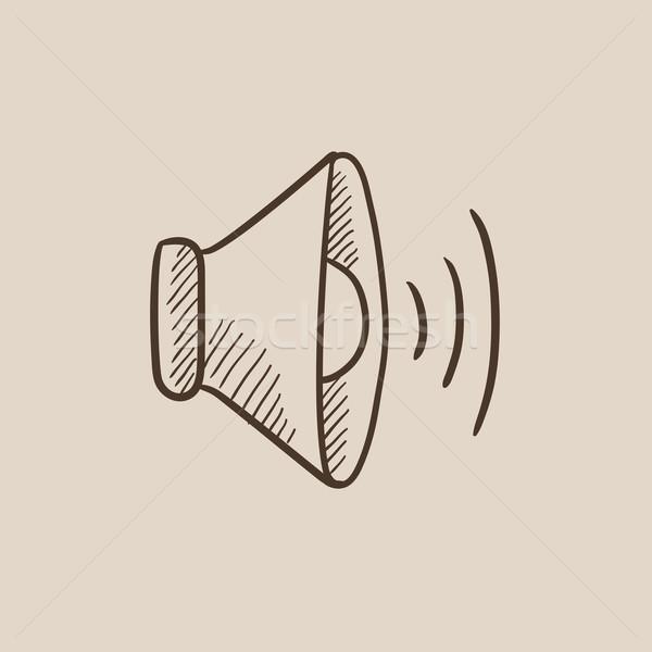 Hangszóró hangerő rajz ikon háló mobil Stock fotó © RAStudio