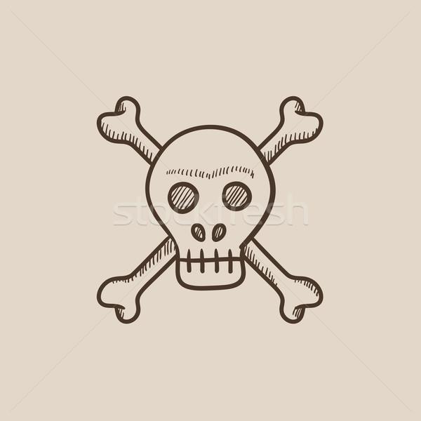 Crânio atravessar ossos esboço ícone teia Foto stock © RAStudio