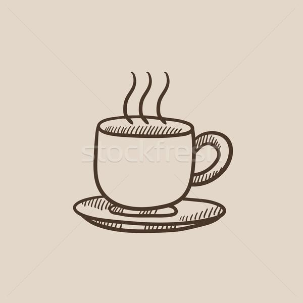 Fincan sıcak içecek kroki ikon web hareketli Stok fotoğraf © RAStudio