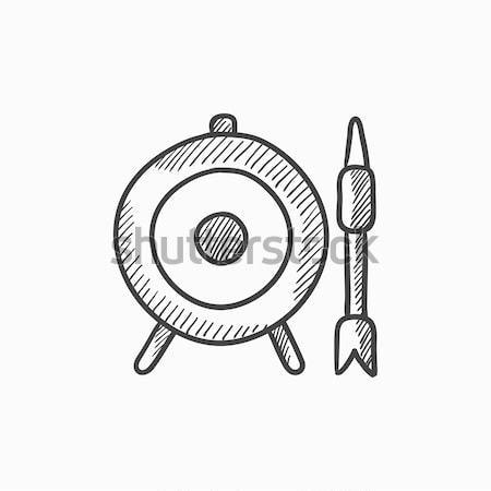 Target board and arrow sketch icon. Stock photo © RAStudio