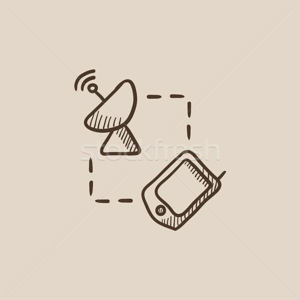 Navigator and satellite dish sketch icon. Stock photo © RAStudio
