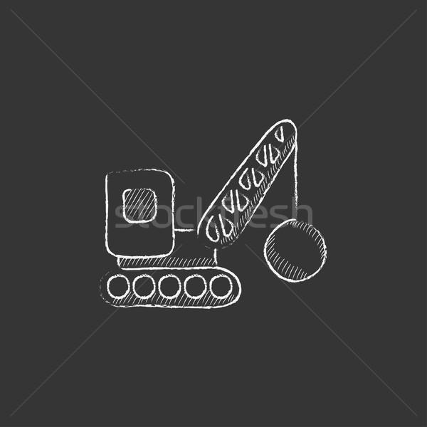 Yıkım vinç tebeşir ikon Stok fotoğraf © RAStudio