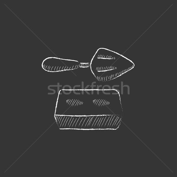Spatule brique craie icône dessinés à la main Photo stock © RAStudio
