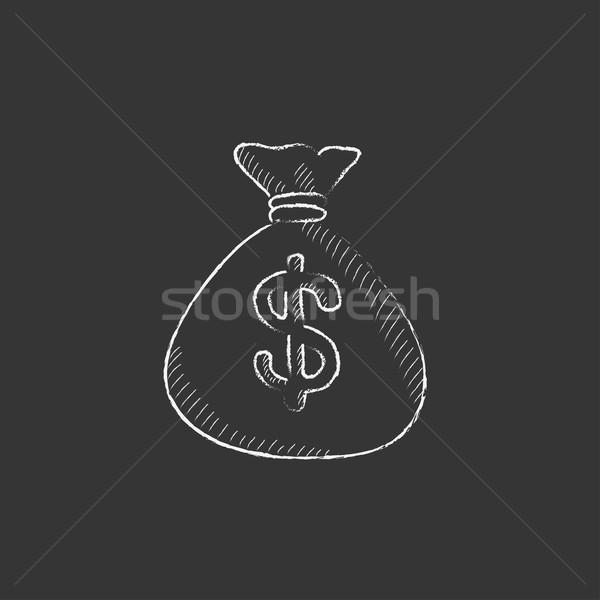 Pénz táska rajzolt kréta ikon dollár Stock fotó © RAStudio