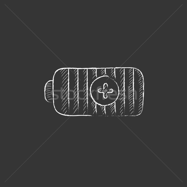 Fully charged battery. Drawn in chalk icon. Stock photo © RAStudio