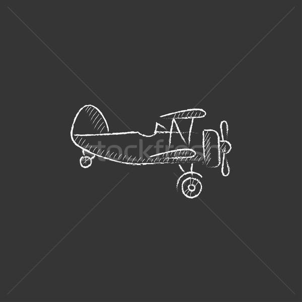 Propeller plane. Drawn in chalk icon. Stock photo © RAStudio