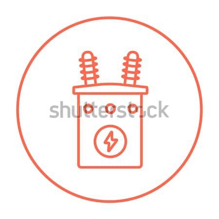 Alta tensão transformador linha ícone teia Foto stock © RAStudio