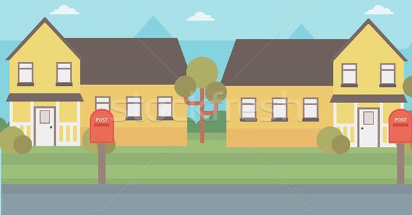 пригородный дома домах вектора дизайна иллюстрация Сток-фото © RAStudio