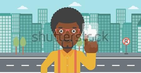 Stock photo: Man pressing like button.