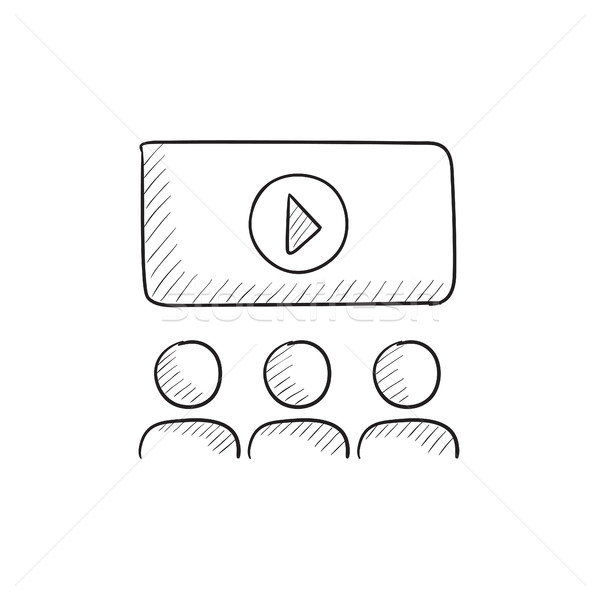 Viewers watching motion picture sketch icon. Stock photo © RAStudio