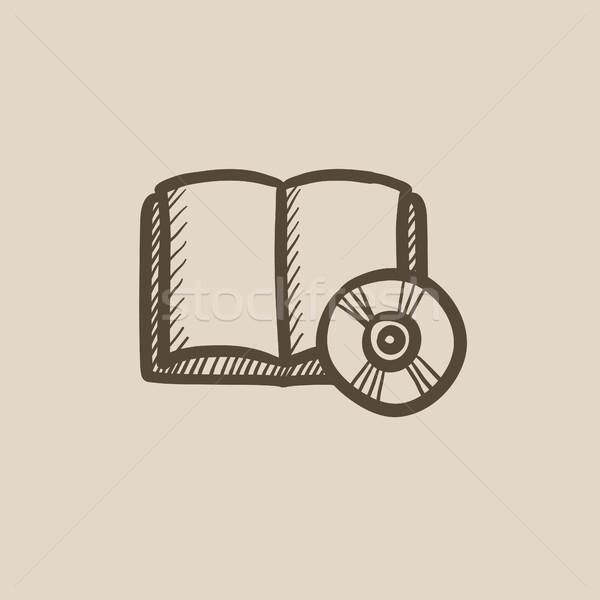 Cd disk kroki ikon vektör yalıtılmış Stok fotoğraf © RAStudio