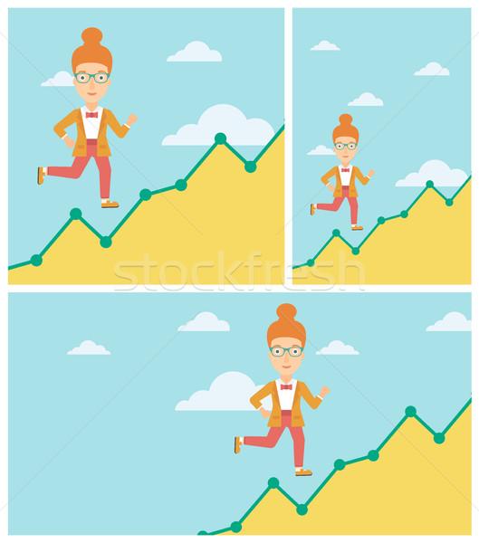 Zakenvrouw lopen naar boven vrolijk groei grafiek Stockfoto © RAStudio