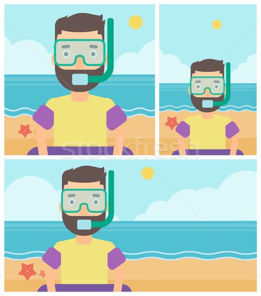Férfi snorkeling felszerlés tengerpart maszk cső Stock fotó © RAStudio