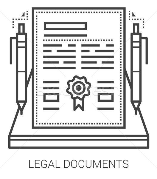 Foto stock: Jurídica · documentos · línea · iconos · infografía · metáfora