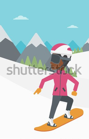Mulher jovem snowboarding neve montanha mulher Foto stock © RAStudio