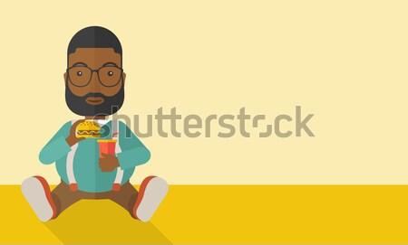Grubas posiedzenia jedzenie piętrze hamburger sody Zdjęcia stock © RAStudio