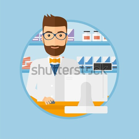 Apotheker tonen geneeskunde jonge permanente counter Stockfoto © RAStudio
