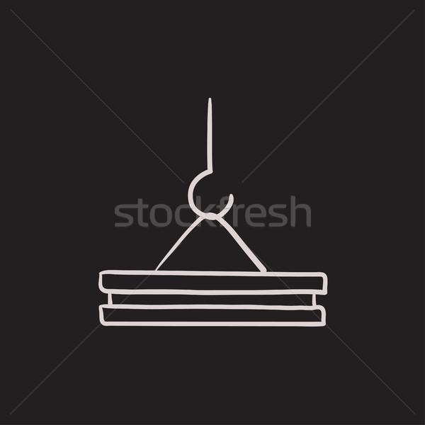 Kran Haken Skizze Symbol Vektor isoliert Stock foto © RAStudio