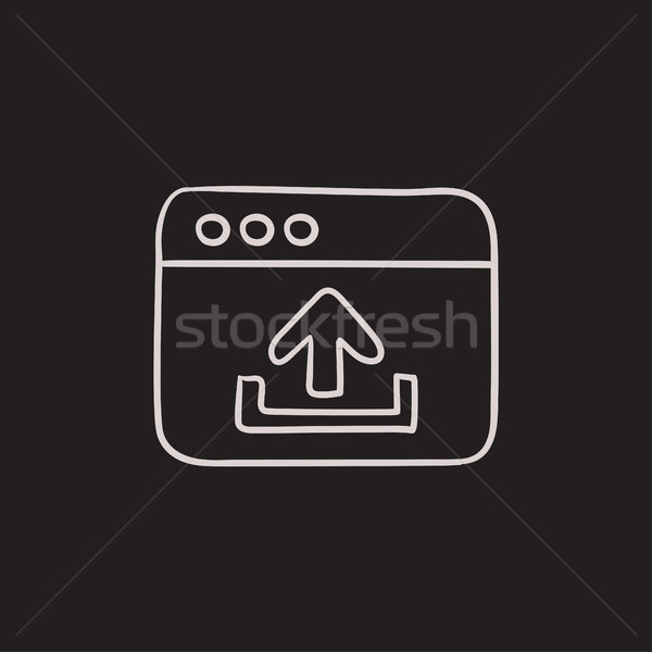 Browser window with upload sign sketch icon. Stock photo © RAStudio