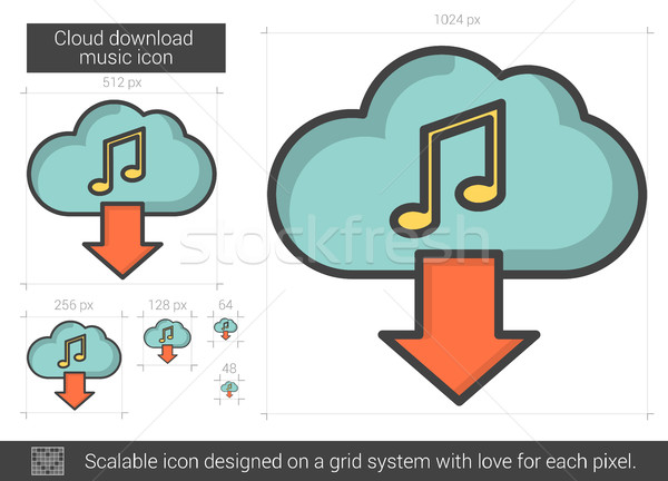 Stock photo: Cloud download music line icon.