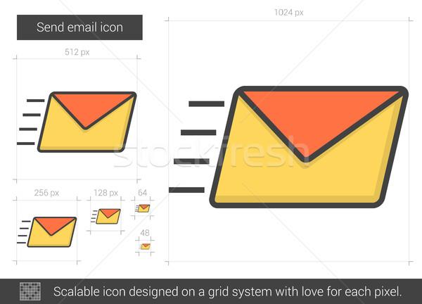 Küld email vonal ikon vektor izolált Stock fotó © RAStudio