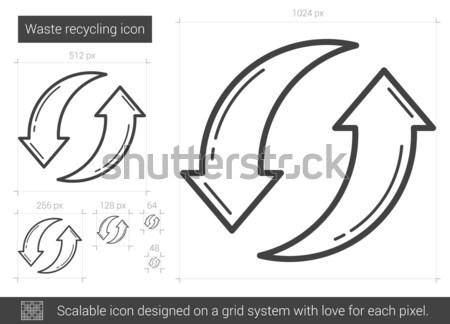 Déchets recyclage ligne icône vecteur isolé Photo stock © RAStudio